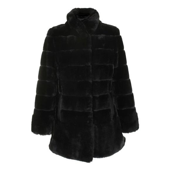 45a1a88fc62af Jones New York Petite Black Faux-Fur Seamed Coat